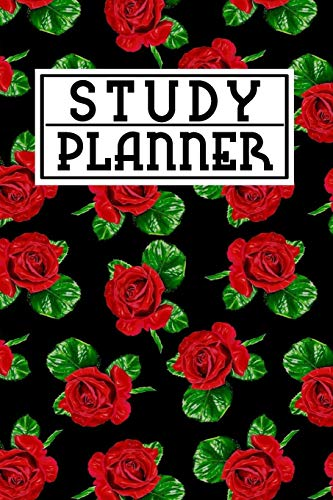 Floral Womens Wallet (Study Planner: Study Skills Handbook w/ Cute Red Beautiful Rose Flower Floral Pattern on Black Cover Gift)