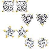 #5: Om Jewells Fashion Jewellery Combo of 4 Gold Plated CZ Studs Earrings for Girls and Women CO1000081