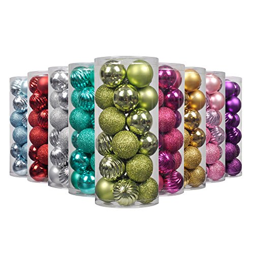 Art Beauty Christmas Tree Baubles Lime Green Ball Onaments Shatterproof Xmas Hanging Decorations Centrepieces 24pcs (4-Finish, 40mm)