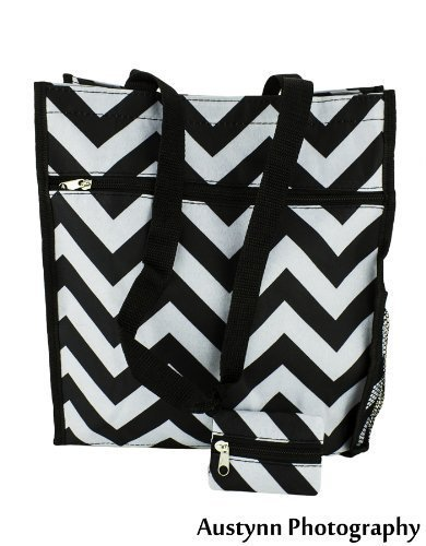 tote-bag-book-shoulder-bag-travel-accessory-case-grey-and-black-chevron-zig-zag-pattern-zippered-clo