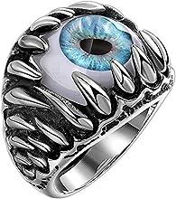 Clocolor Anillo de acero inoxidable joyería estilo punk gótico del ojo de diablo con garras y colmillos de dragón Unisexo S