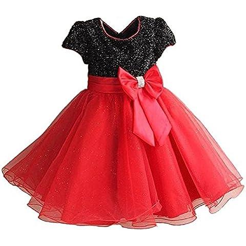GenialES® Vestido de Boda Fiesta para Niñas Disfraz de Princesa Linda Dulce Bonito Cute Wedding Party Dress a Partir de 3 a 7