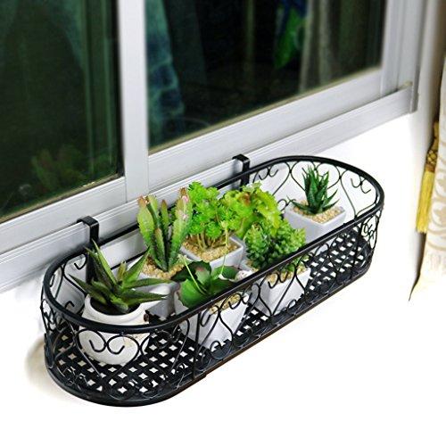 JAZS® Porte-fleurs, fenêtre ovale de balcon de style européen Balcon Pots de fleurs suspendues Balustrade de balcon Fenêtre suspendue Porte-fleurs suspendue murale protection de l'environnement raffinée ( Couleur : Noir , taille : 60*20cm )