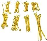 SiAura Material ® - 800 Kettelstifte / Nietstifte Öse, Mix 1,6cm - 5cm, Goldfarben