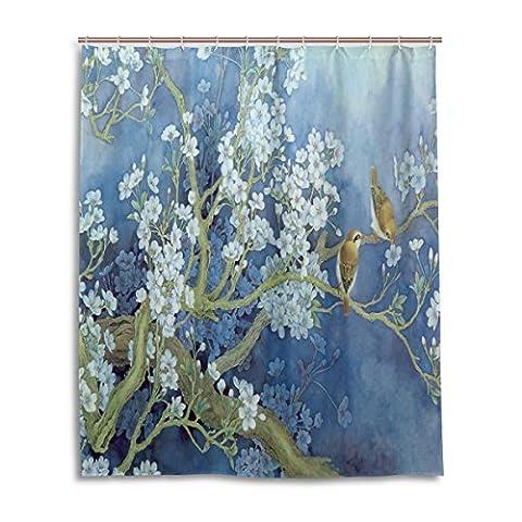 Bath Shower Curtain 60x72 Inch,China Classic Art Plum Blossom Floral Bird Painting Blue,Mildew Proof Polyester Fabric Bathroom