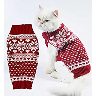 Rot Fair Isle Knit Haustier Pullover Kleidung für kleine Hunde, Classic Medium größe M