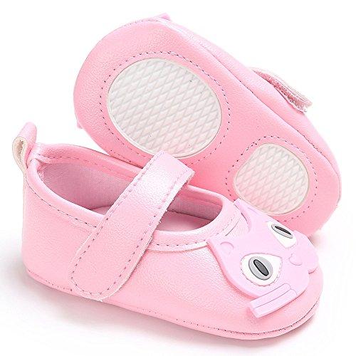 Saingace Bébé Garçon Fille Doux Chaussures Chat Modèle Lit de bébé Bambin Chaussures (5.1inch/12-18mois, Noir) Rose