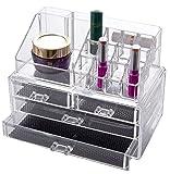 Oxid7® Organizer für Kosmetik Acryl | Aufbewahrungsbox für Make Up und Schmuck | Schmuckkästchen | Schubladenbox Schminke - 18,6x24x15 cm - 16 Fächer mit 4 Schubladen