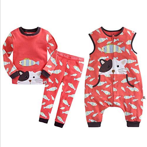 HB.YE Baby Schlafanzug Kinder Schlafsack mit Füßen Baumwolle Strampler Jungen Mädchen unisex warm Winter Cartoon (3-Stück - Katze, M)
