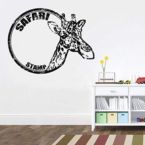 jiuyaomai Giraffe Vinyl Art Wall Sticker Africano Wild Pride Animali Rimovibile Decalcomania Camera da Letto Soggiorno Decorazione della casa57x74cm
