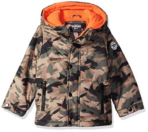 Osh Kosh Boys' Toddler Little Man Puffer Jacket, camo/Tangy Orange, 4T -