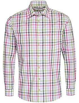 Almsach Trachtenhemd Edmund Regular Fit Mehrfarbig in Fuchsia und Dunkelgrün Inklusive Volksfestfinder