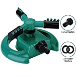 Calish Water Sprinkler 3 Arm Round Lawn Sprinkler, 360° Rotating Garden Sprinkler System with with 2 Connectors and 2 Rubber Washers