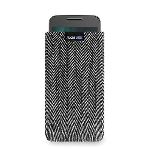 Adore June Business Tasche für Moto G4 Play/Moto G5 Handytasche aus charakteristischem Fischgrat Stoff - Grau/Schwarz | Schutztasche Zubehör mit Bildschirm Reinigungs-Effekt | Made in Europe