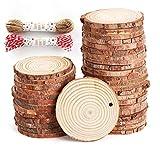 ilauke 50 Stücke Holzscheiben Holz Log Scheiben 6-7cm und Nnatürliche
