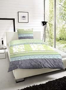 2 tlg. Renforce Baumwolle Bettwäsche Garnitur Set Farbe: Grün, Größen: 135 x 200cm und 155 x 220cm Größe 135 x 200