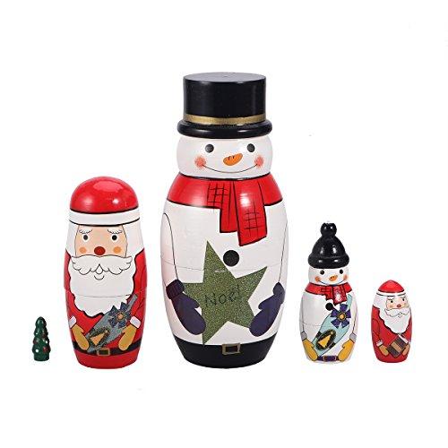 TOYMYTOY 5 Cutie Nesting Muñecas Adorable ruso pila muñeca Colección de juguete (muñeco de nieve)