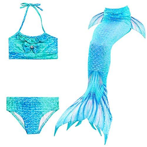 Skitic 3Pcs Mädchen Meerjungfrauenschwanz Bikini Set Schwimmanzug Badeanzüge Bademode Prinzessin Cosplay Kostüm Badebekleidung - Stil 2 (Größe: S)