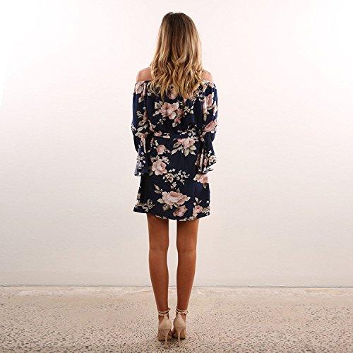 DINGANG® Damen Sommer Blume Gedruckt Kleid Off-Schulter Lose Party Cocktail Kleider Blau