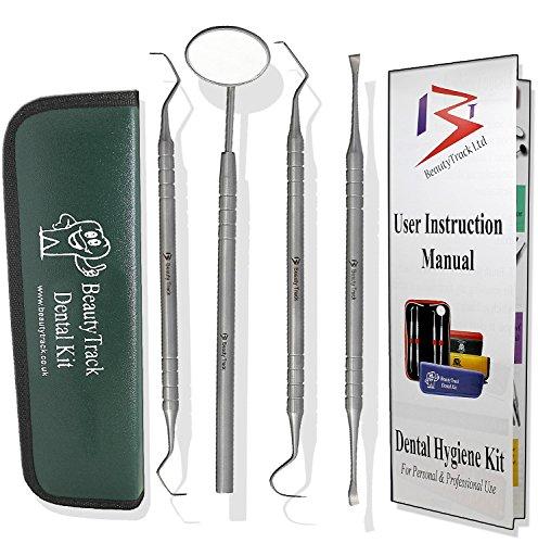 Zahnpflege-Kit für den persönlichen Gebrauch, Zahnsteinentferner, Zahn Zahnstein/Plakette Entferner & Dental Teigschaber, Edelstahl (wird mit einem Premium Dunkel Grün Leder Reisetasche/Hülle)