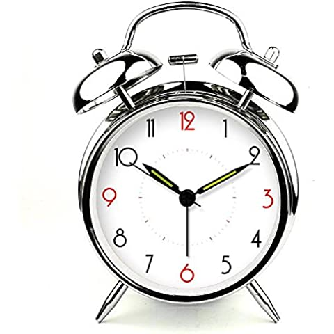 Silencio creativo ZHGI pequeño reloj, Cute luces nocturnas, estudiantes en casa del reloj de metal , gris