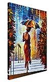 CANVAS IT UP Lady mit Schirm auf den Stufen von Leonid Afremov auf Leinwand Bilder Kunstruck Wand Wohnzimmer Abstrakte Kunst Größe: A1–86,4x 61cm (86cm x 60cm)