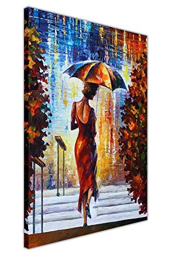 """Lady mit Schirm auf den Stufen von Leonid Afremov auf Leinwand Bilder Kunstruck Wand Wohnzimmer Abstrakte Kunst, canvas holz, 04- 30"""" X 20"""" (76CM X 50CM)"""