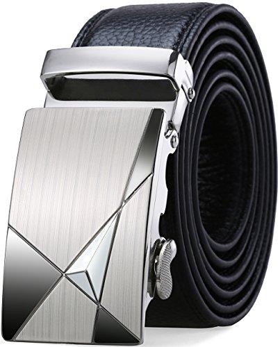 SIPLION Herren 100% echtes Leder Gürtel Solid Gürtelschnalle mit automatischer Ratsche 35mm breit 0219 Black 115CM