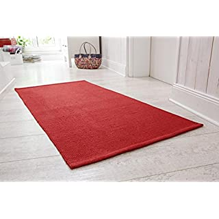 Andiamo Handwoven cotton rug, Rag Rug, washable runner,, Size:100x150cm, Colour:Red