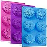 Senhai 6-Cavity Silikon-Blumenform Kuchenformen, 3 Packs Fondant Rose Form Dekorieren Eiswürfel Trays für hausgemachte Kuchen Schokolade Cupcake - lila blau rosa