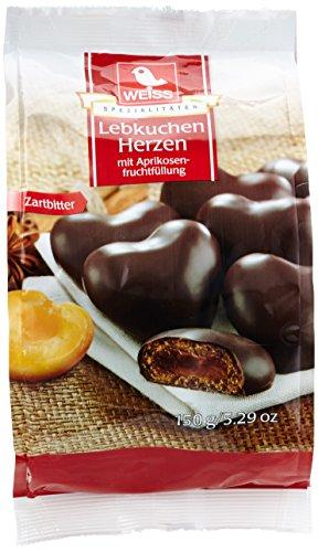 Preisvergleich Produktbild Weiss Lebkuchen-Herzen gefüllt Zartbitter,  12er Pack (12 x 150 g)