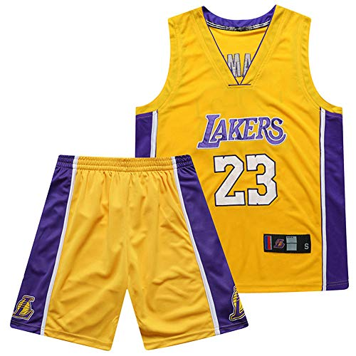 YUNY Lakers, Basketball Shorts Sommer Jersey Basketball Uniform Tops und Shorts, 23# James, 24# Kobe, Anzug (gelb)-22-XXXL