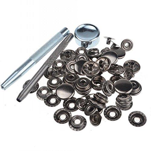Chengyida 30erSet Druckknöpfe, 15mm, robust, Schwarz-metallisch, mit Setzwerkzeug 201 (Snap Setting Tool)