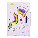 Hülle für iPad Mini 3/2 / 1, A-BEAUTY Cartoon Muster Premium PU Leder Flip Brieftasche Cover Schlank Ständer und Auto Schlaf/Wach Buchstil Schutzhülle für Apple iPad Mini 3/2/1, Farbe Einhorn