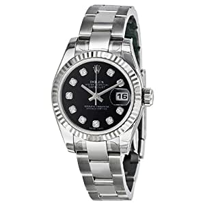 Datejust Black Diamond Dial Oyster Bracelet 18kt White Gold Bezel Ladies Watch