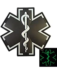 Glow Dark ACU Black EMS EMT Medic Paramedic Star of Life Morale Tactical PVC Touch Fastener Patch