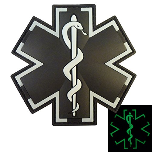 Preisvergleich Produktbild Glow Dark ACU Black EMS EMT Medic Sanitäter Paramedic Star of Life Morale Taktisch Tactical PVC Hook-and-Loop Aufnäher Patch