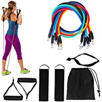CUQOO | 11pc Resistance Bands Set | Perfect for Workout Yoga Crossfit Pilates Physio | Home Gym Equipment Full Body