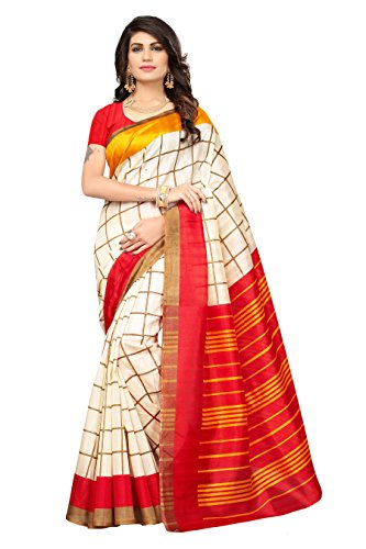 OOMPH! Art Silk Saree With Blouse Piece (rbks_festival080_Buttermilk Beige_Free Size)