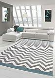 Wohnzimmer Teppich Skandinavisches Design in Türkis Creme Grau Größe 120x170 cm