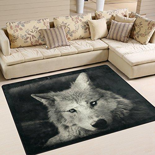 Use7 Halloween Mystischer Wolf-Teppich für Wohnzimmer Schlafzimmer, Textil, Mehrfarbig, 160cm x 122cm(5.3 x 4 feet)