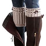 Xinantime_Ropa Interior Mujer ❤️Xinan Calcetines de Punto Calentadores de la Pierna de Arranque de la Cubierta 1 Par (☆Beige)