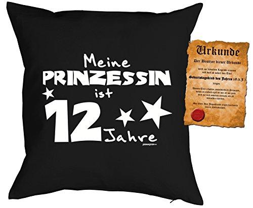 Mädchen/Geburtstags/Deko-Kissen inkl. Spaß-Urkunde: Meine Prinzessin ist 12 Jahre tolles Geschenk 12.Geburtstag