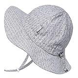 Baumwoll-Sonnenhüte für Kleinkinder 50 UPF, Kordelzug verstellbar, mit Kinnriemen (Mittel: 6-30m, Schlapphut: Grau Klein Argyle)