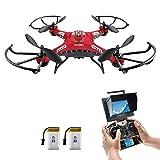 Drohne mit Kamera,Potensic RC Quadrocopter 5.8GHz 6-Achsen-Gyro Drohne mit 2,0 MP HD Kamera FPV Monitor Video Live 3D Flip Funktion-Rot