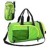 UBAYMAX Sporttasche Reisetasche Rucksack, Faltbarer Fitnesstasche Duffel Gym Bag, 32 Liter Handgepäck Weekender Tasche Große Sporttasche für Männer und Frauen (Grün)