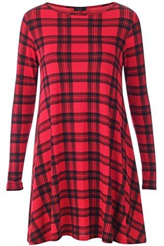 Womens Red Black Tartan Print Ladies Long Sleeve Check Swing Dress ** PLUS SIZE AVAILABLE** (XL (20-22))