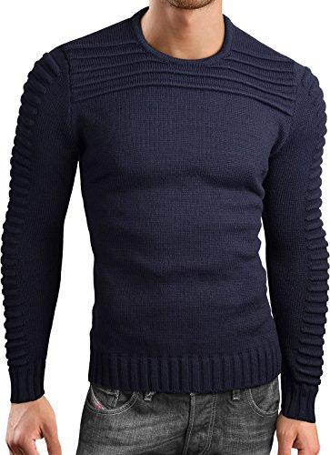 Grin&Bear slim fit Pullover Strick Crew neck Sweatshirt Herren, dunkelblau, S, GEC318