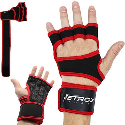 Netrox Sporthandschuhe Krafttraining echt echtes Rinsleder Leder Workout Crossfit lang kurz Pads Zughilfen weniger Hornhaut Keine schlieren atmungsaktiv Fitnes Sport (Rot, M)
