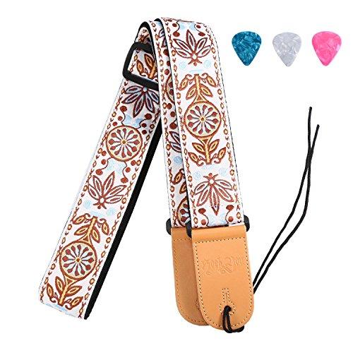 Vintage Gitarrengurt Geflochtene Verstellbare Gurte mit Leder Ende für Akustik und E-Gitarre & Bass (3 passende Picks enthalten)